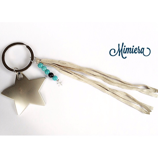 leather tassel STAR keyring ★ silver