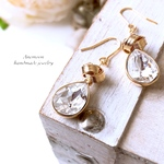 swarovski & gold knot piace/earrings クリスタル