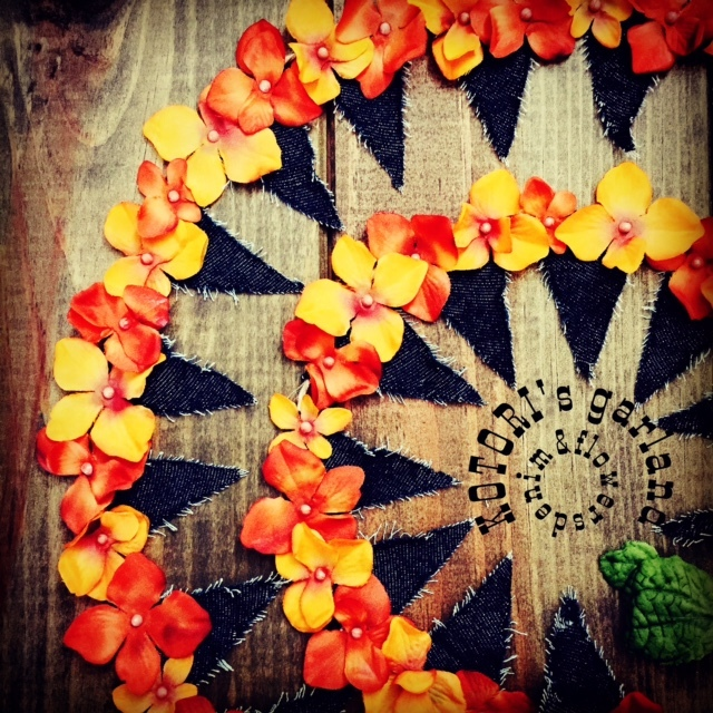 【限定・ラスト一点】Denim&Flowers Garland 〜デニム&オレンジフラワーガーランド〜