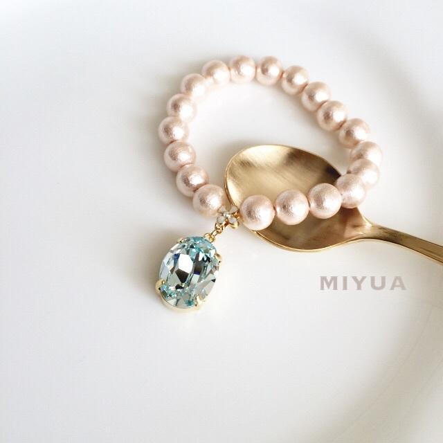 贅沢スワロフスキーのピンク コットン パール ブレスレット pearl