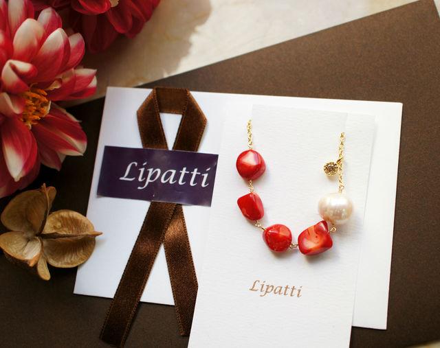染め珊瑚とバロック真珠のブレスレット 〜Lotte