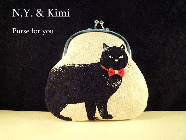 *黒ネコ 赤いリボン がま口 ポーチ 財布*