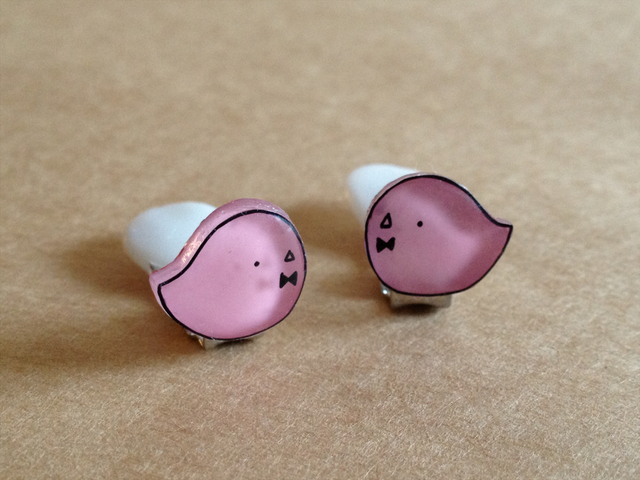 ピンクひよこのイヤリング