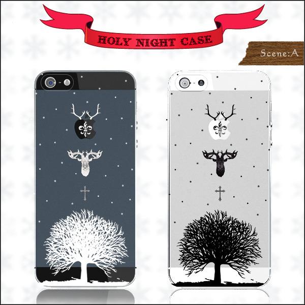 ◆Holy Night◆モノクロ-大木とトナカイ iphone ケース