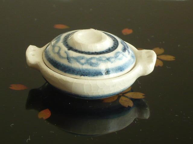 ミニチュア陶器★染め付け 土鍋 輪つなぎ