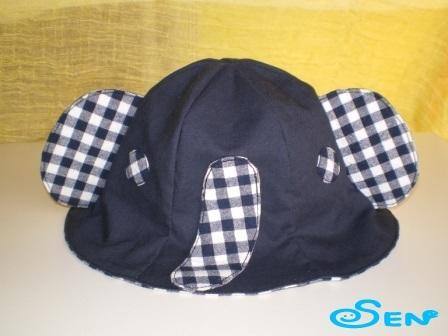 ゾウさん帽子(紺チェック)
