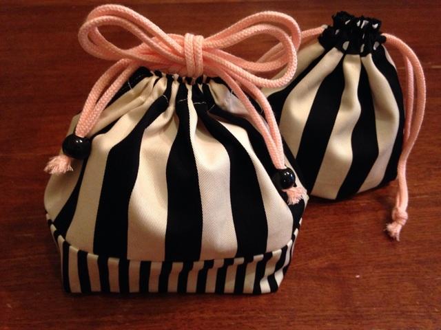再販★しましまのお弁当袋&コップ袋セット*ピンク