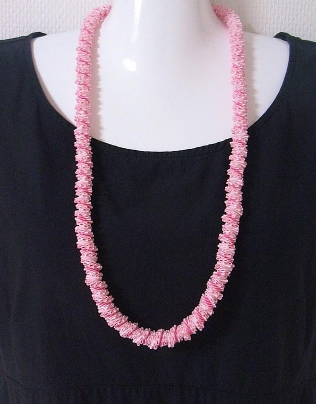 リボン・ロングネックレス・ピンク