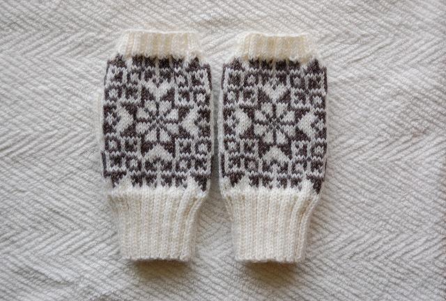手編みの指なしミトン  【一番星】 ホワイト×濃グレー