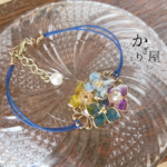 (紺紐)鉱石色の紫陽花のブレスレット(bracelet of butterfly and hydrangea 〜mineral color〜)