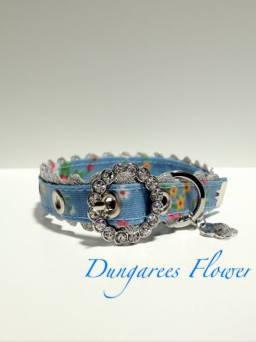 きらきらバックル首輪 Dungarees Flower