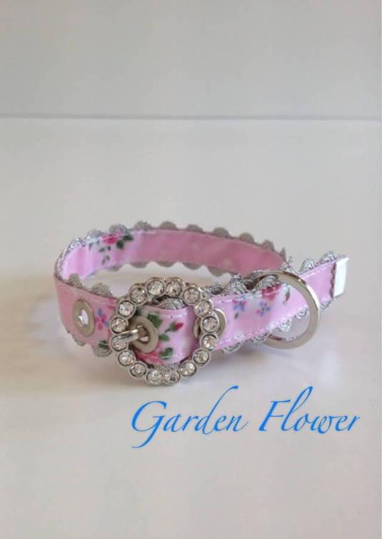 きらきらバックル首輪 Garden Flower ピンク