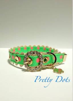 きらきらバックル首輪 Pretty Dots グリーン