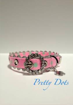 きらきらバックル首輪 Pretty Dots ピンク