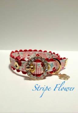 きらきらバックル首輪 Stripe Flower レッド