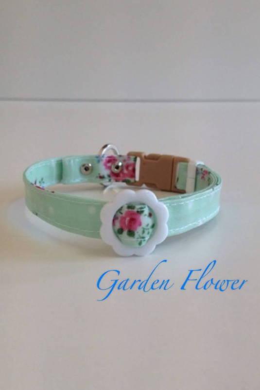 パピー用首輪 Garden Flower グリーン