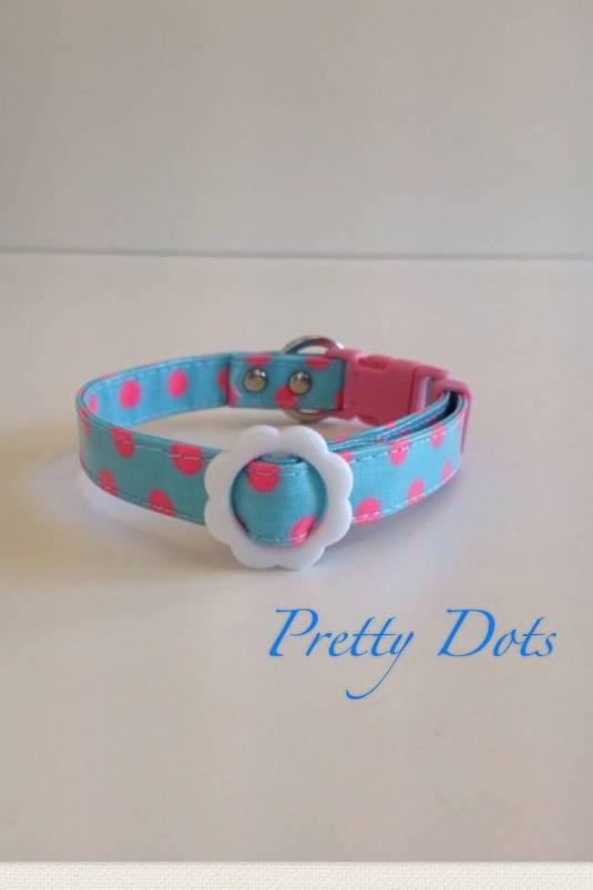 パピー用首輪 Pretty Dots ブルー