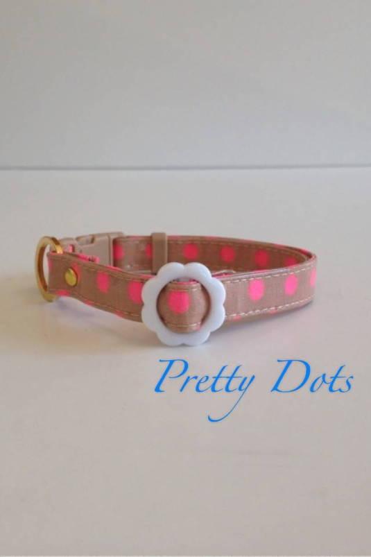 パピー用首輪 Pretty Dots キャメル
