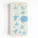 [ space trip ! #w-blue ] 手帳型スマホケース iPhone  Android