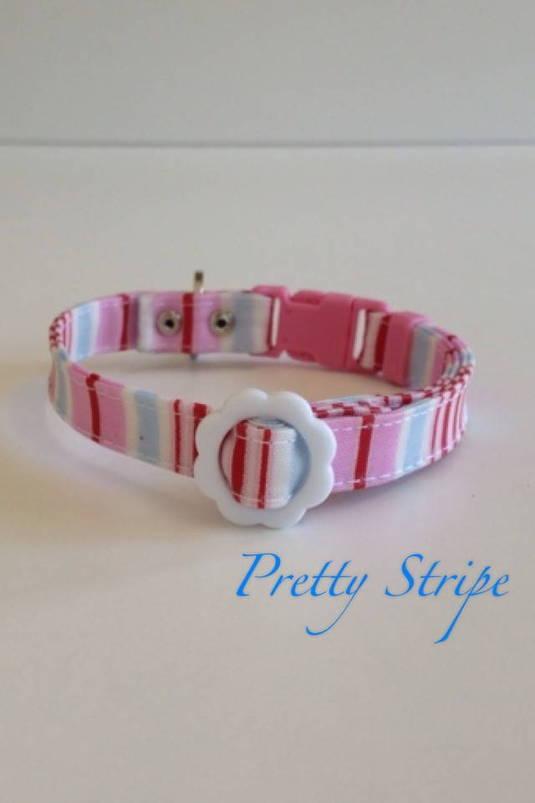 パピー用首輪 Pretty Stripe ピンク