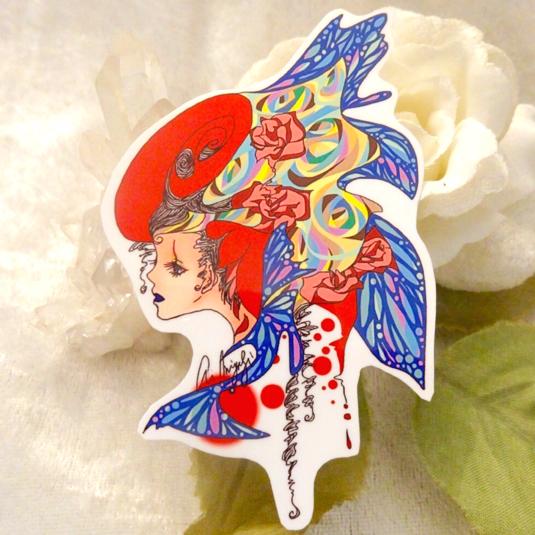 『花魁・赫』オリジナルイラストミニステッカー【送料込】