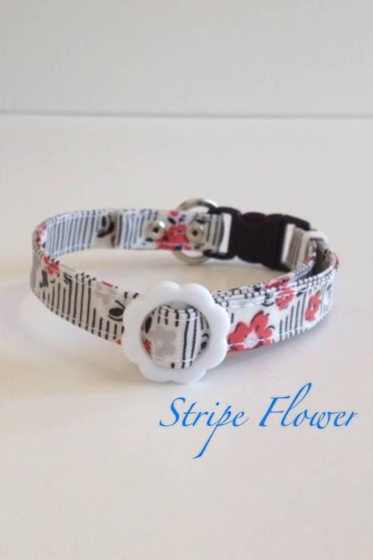 パピー用首輪 Stripe Flower 黒