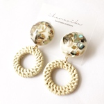 《特集掲載》shell cabochon × ring rattan pierce  / earring