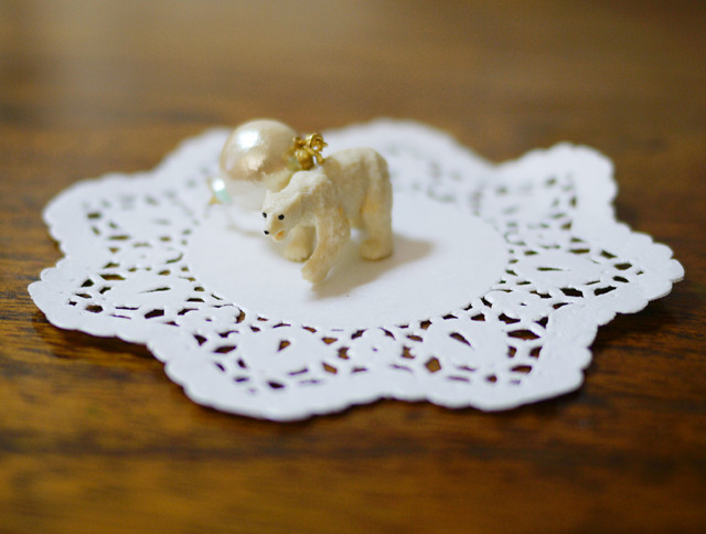 (Sold out)animal片耳ピアス【Polar bear3】