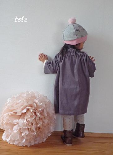 [size100] ギャザースモックワンピース・七分袖 (ミルクココア)