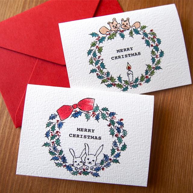 CHRISTMAS MINI CARD - WREATH リス&ウサギ 2PC SET-