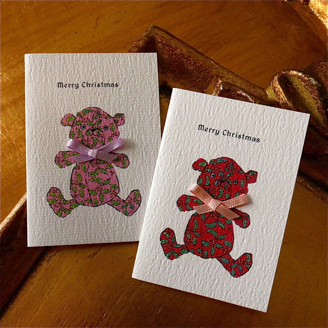 CHRISTMAS MINI CARD - NOEL BEAR 2PC SET-
