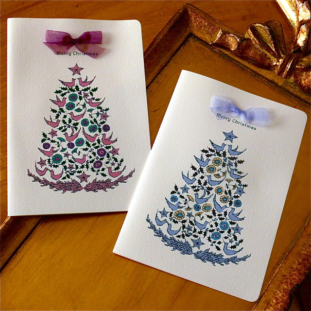 CHRISTMAS CARD -  BIRD TREE 2PC SET