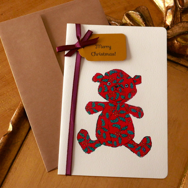 CHRISTMAS CARD -  NOEL BEAR 2PC SET