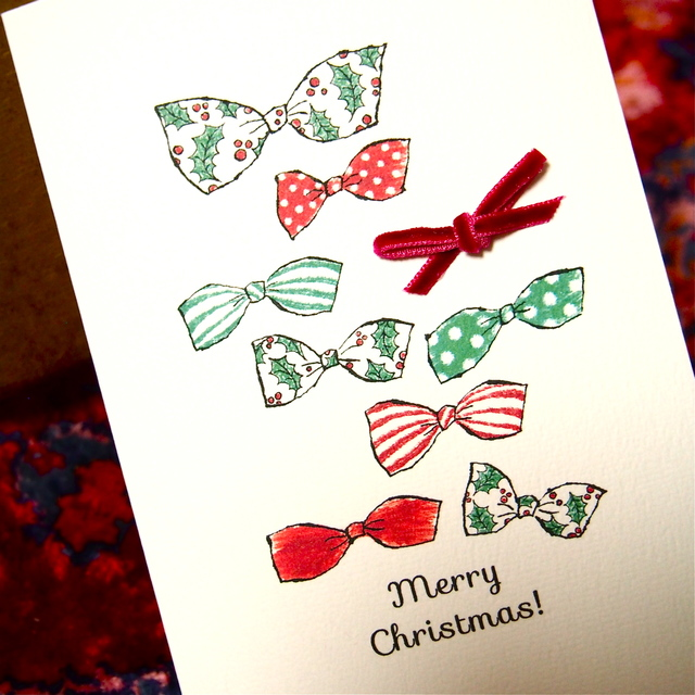 CHRISTMAS CARD -  CHRISTMAS RIBBONS 2PC SET