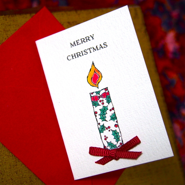 CHRISTMAS MINI CARD - CANDLE 2PC SET-