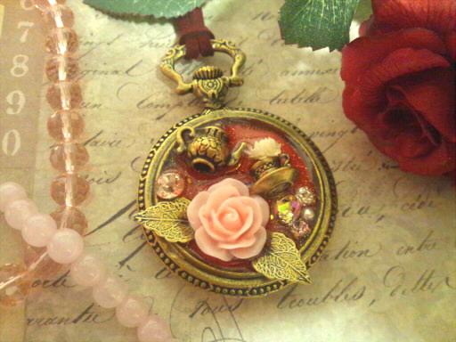 薔薇のお茶会ネックレス*ピンク*