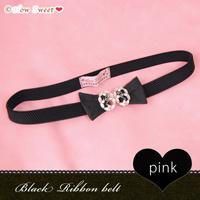 【HowSweet*】Black Ribbon belt*[Pink] -*黒のリボン型ゴムベルト・ピンク*-
