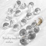 再販 medium(16pcs)clear raindrop beads