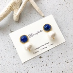 lapis lazuli×cotton pearl pierce/earring