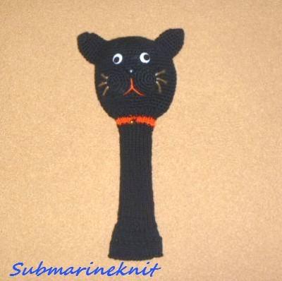 黒猫のあみぐるみヘッドカバー