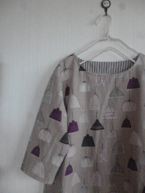 北欧調綿麻の肩落ちシンプルAラインワンピランプ