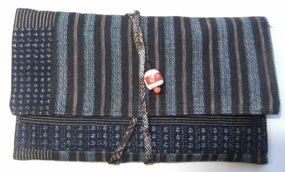 着物リメイク 男絣と唐桟縞の着物で作った和風財布 664