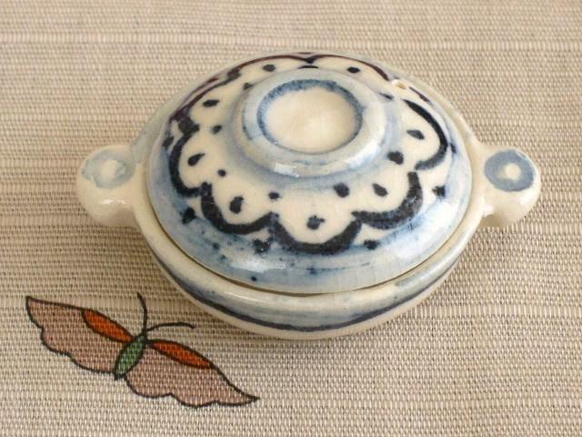 ミニチュア陶器★染め付け 土鍋 花