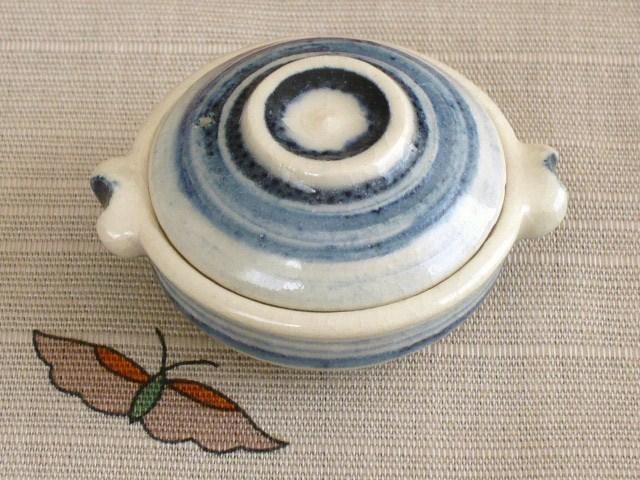 ミニチュア陶器★染め付け 土鍋 波紋