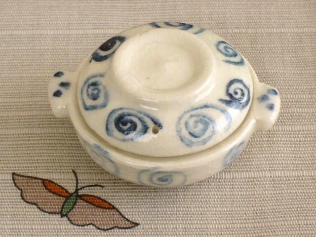 ミニチュア陶器★染め付け 土鍋 渦巻き