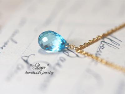 宝石質スイスブルートパーズの大粒ネックレス