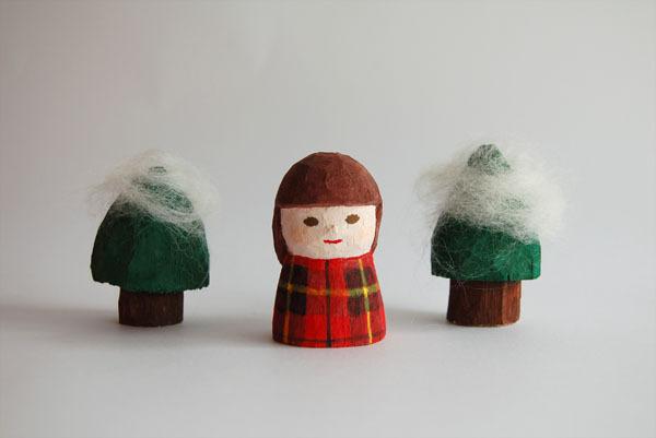 木彫り人形 女の子 ウォレス  [MWF-041]