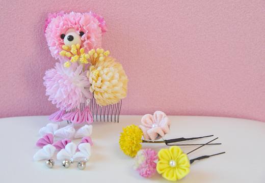 和のマム&くまちゃん髪かざり(white&pink)