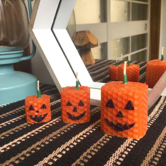 ハロウィンかぼちゃ3点セット:ミツロウキャンドルakarizm