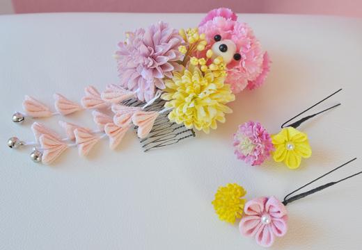 和のマム&くまちゃん髪かざり(pink)